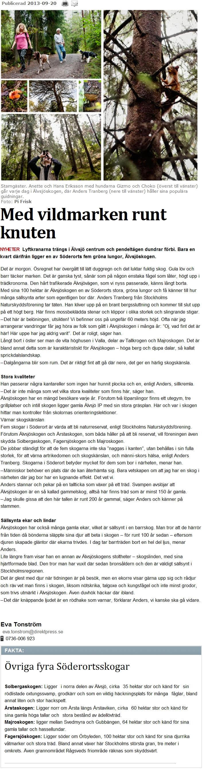 Med vildmarken runt knuten - Älvsjöskogen 2013-09-20